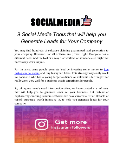 9 Social Media Tools that will help you Generate Leads for Your Company